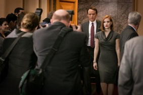 """M8 David Wilson Barnes (left) and Jessica Chastain (right) star in EuropaCorp's """"Miss Sloane"""". Photo Credit: Kerry Hayes © 2016 EuropaCorp Ð France 2 Cinema"""