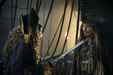 """""""PIRATES OF THE CARIBBEAN: DEAD MEN TELL NO TALES""""..The villainous Captain Salazar (Javier Bardem) pursues Jack Sparrow (Johnny Depp) as he searches for the trident used by Poseidon..Pictured L-R: Geoffrey Rush (Barbossa) and Johnny Depp (Captain Jack Sparrow)..Ph: Peter Mountain..© Disney Enterprises, Inc. All Rights Reserved."""