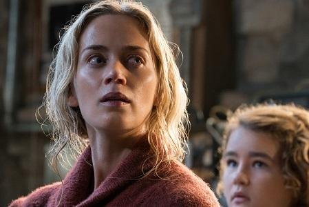 Left to right: Emily Blunt plays Evelyn Abbott and Millicent Simmonds plays Regan Abbott in A QUIET PLACE, from Paramount Pictures.
