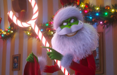 With the aid of mechanical candy cane, the Grinch (Benedict Cumberbatch), disguised as Santa, steals every bit of Christmas from the homes of Whoville in Dr. Seuss' The Grinch from Illumination.