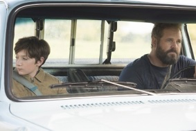 Brandon Breyer (Jackson A. Dunn) with his dad Kyle Breyer (David Denman) in Screen Gems' BRIGHTBURN.