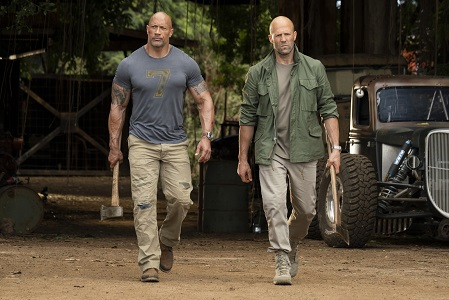 Luke Hobbs (Dwayne Johnson) and Deckard Shaw (Jason Statham) team up and face off in Fast & Furious Presents: Hobbs & Shaw, directed by David Leitch.