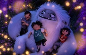 (from left) – Jin (Tenzing Norgay Trainor), Peng (Albert Tsai) and Yi (Chloe Bennet) with the Yeti, Everest, in DreamWorks Animation and Pearl Studio's Abominable, written and directed by Jill Culton.