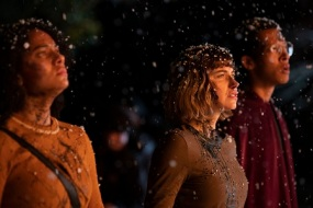 "(from left) Kris (Aleyse Shannon), Riley (Imogen Poots) and Landon (Caleb Eberhardt) in ""Black Christmas,"" co-written and directed by Sophia Takal."