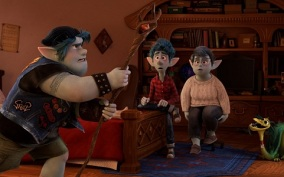 "CONJURING DAD – In Disney and Pixar's ""Onward,"" mom Laurel Lightfoot (voiced by Julia Louis-Dreyfus) presents her sons Ian and Barley (voiced by Tom Holland and Chris Pratt) with a special gift from their late father on Ian's 16th birthday. But when an accompanying spell meant to magically conjure their dad for one day goes awry, they embark on a quest fraught with some of the most unexpected obstacles. Directed by Dan Scanlon and produced by Kori Rae, ""Onward"" opens in U.S. theaters on March 6, 2020. © 2019 Disney/Pixar. All Rights Reserved."